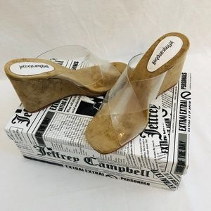 Jeffrey Campbell Mystical Clear Suede Wedge Tan